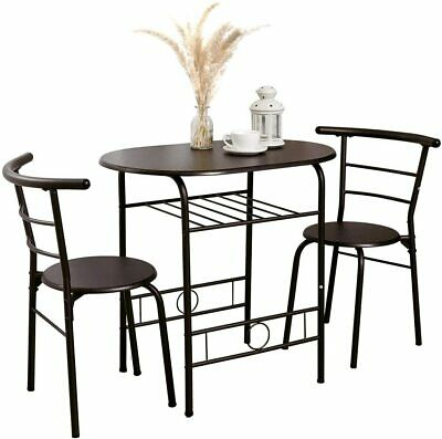 $79.99 • Buy 3 Pieces Metal Dining Table Set W/ 2 Chairs Bistro Breakfast Space Saving Table