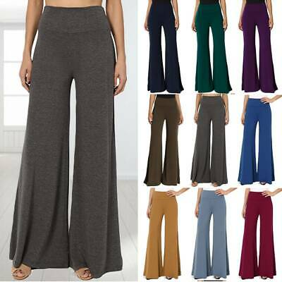 AU25.99 • Buy Womens High Waist Yoga Pants Wide Leg Palazzo Flared Lounge Trousers Plus Size A