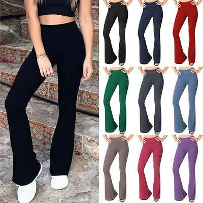 AU19.99 • Buy Women's Cotton Solid Yoga Pants Flared Leggings Bootcut Foldover Bell Bottom AU