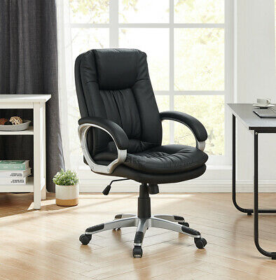 Executive Office Chair PU Leather Padded Swivel Recliner Computer Gaming Seat • 109.99£