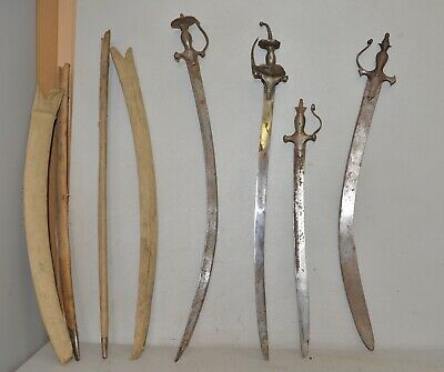 $999.99 • Buy 4 Antique Indo Persian Indian Tulwar Sword Saber Collectible Parts Or Repair Lot