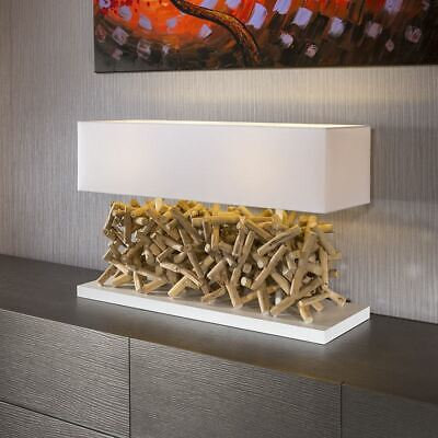 Beautiful Unique Modern Driftwood Table Lamp/light White Shade Calcutt • 349£