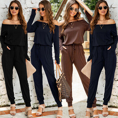 UK Women's Off Shoulder Jumpsuit Casual Loose Long Playsuit Romper Trousers 8-18 • 16.49£