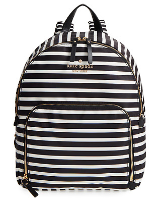 $ CDN127.56 • Buy Kate Spade Nylon Backpack Watson Lane Hartley Medium Black And White Stripe