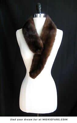 $78 • Buy Brown Mink Fur Scarf , Mahogany Real Fur Stole , Vintage Gift , Winter Accessory