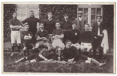 SOCIAL HISTORY Unidentified Football Team With Cup, RP Postcard Unused • 5.95£