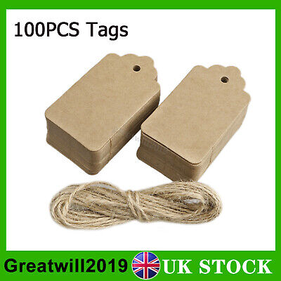 100PCS Kraft Paper Gift Tags String Price Label Luggage Tag Wedding Party 9x4cm • 1.99£
