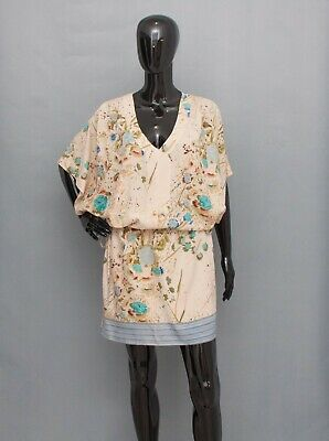 BY TI MO Dress Beige Blue Floral Drawstring Waist Relax Fit S • 13.99£