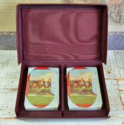 The Water Jump - Vintage 1930's Cased Bezique Playing Card Set & Leather Markers • 95£
