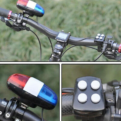 6bike Bicycle Police Led Light + 4 Loud Siren Sound Trumpet Cycling Horn Bel  CW • 4.55£