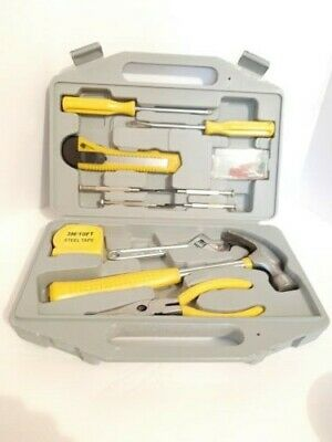 Home Tool Kit Set Hammer,Pliers, Handy, Ladies, In Carrying Case Yellow • 11.44£