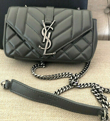 AU599 • Buy AUTHENTIC Pre-Loved YSL Saint Laurent Baby Chain Leather Bag ITALY