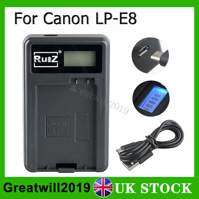 LP-E8 Battery Charger For Canon EOS 550D 600D 650D 700D Rebel T2i T3i Kiss X4 X5 • 9.99£