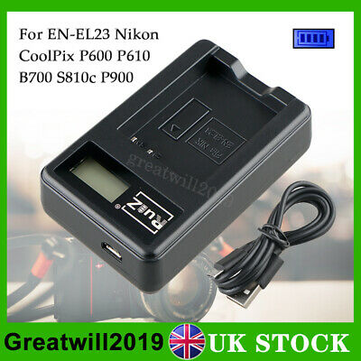LCD Screen Battery Charger For Nikon EN-EL23 COOLPIX P900 S810c P610 P600 B700 • 6.99£