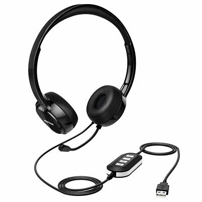 Mpow 3.5mm USB Wired Computer Headset Headphones For Call Center Skype Phone UK • 21.59£
