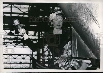 $ CDN19.60 • Buy 1957 Press Photo Actress Madeline Carroll Christens Oil Tanker In Massachusetts