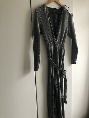 Sparkly Silver Plunge Jumpsuit - Party/Evening - Size L • 10£