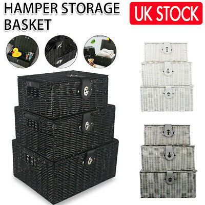 SET OF 3 Storage Baskets Resin Wicker Woven Hamper Tidy Box With Lid & Lock GIFT • 16.49£