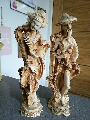 Chinese Resin Statues Resin Gent & Lady Figures Ornaments • 16£