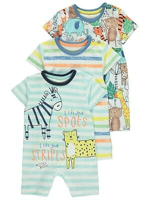 NEW 0-3 Months Safari Adventure Short Sleeve Romper 3 Pack NEW WITH TAG • 7.99£
