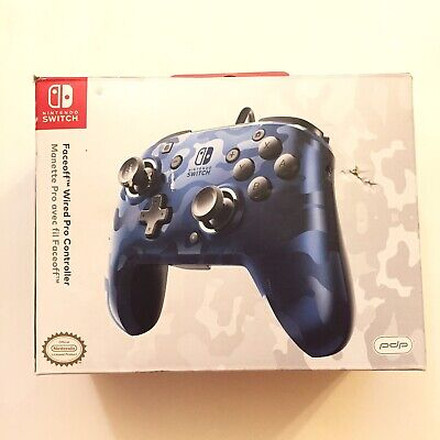 $19.99 • Buy PDP Nintendo Switch Faceoff Wired Pro Controller ~ Blue Camo (Tested) CIB