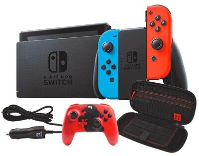 $489.97 • Buy NEW Nintendo Switch Bundle Red/Blue Joy-Con Wireless Controller Case Car Charger