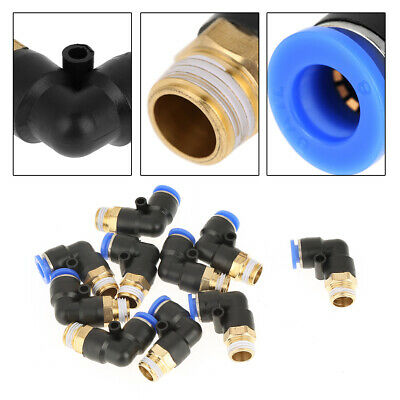 10Pcs G1/4 Compressed Air For PC Pneumatic Fittings Elbow Quick Thread Connector • 5.74£