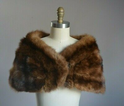 $200 • Buy Genuine Russian Sable Fur Rich Brown Luxe Ultra Soft Stole Wrap Adjustable Front