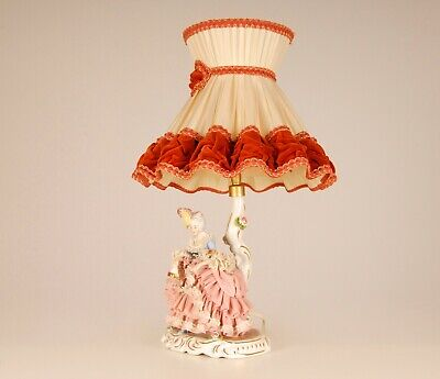 $ CDN724.76 • Buy Antique German Dresden Porcelain Lace Figurine Lamp Volkstedt Marked Saxe