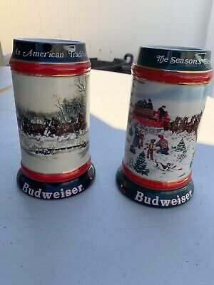 $ CDN12.89 • Buy Budweiser Clydesdale Horses Holiday Beer Steins Mugs 1990 1991
