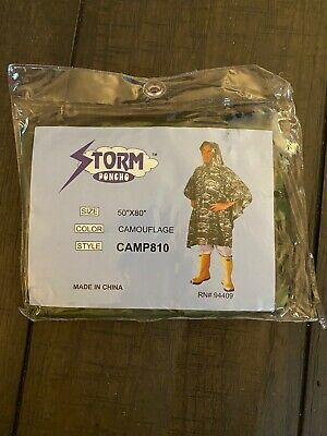 $6.99 • Buy  CAMOUFLAGE STORM PONCHO - Size: 50  X 80  Style: CAMP810