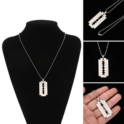 Unisex Stainless Steel Razor Blade Shaped Pendant Dogtag Necklace New • 3.24£