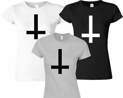 Inverted Cross T- Shirt Women's Fitted  Fashion Blogger Funny Hipster Christmas • 8.99£