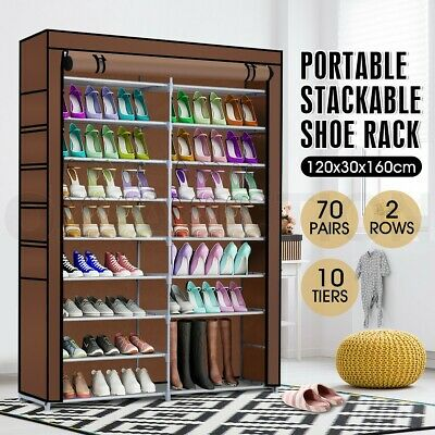 AU45.95 • Buy 70 Pairs 10 Tier Metal Shoe Rack Cabinet Stackable Shelf Storage Organizer Stand