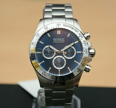 New Genuine Hugo Boss 1512963 Blue Dial Ikon Chronograph Mens Watch Rrp £399 • 96.99£