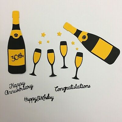 Champagne, Prosecco Birthday, Anniversary, Congratulations Card Toppers • 1.99£