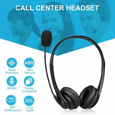 USB Computer Headset Wired Over Ear Headphones For Call Center PC Laptop Skype • 15.31£