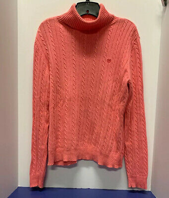 $7.99 • Buy IZOD Turtle Neck Cable Knit Sweater PINK LARGE