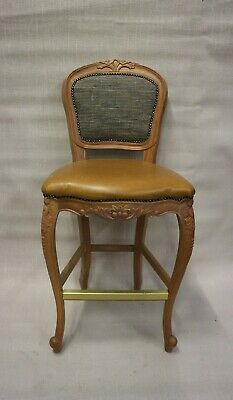 Ornate Louis Style High Chair Upholstered Real Leather Seat And Fabric Back • 110£