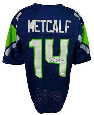 $ CDN6.01 • Buy D.K. Metcalf Autographed Pro Style Blue Jersey JSA Authenticated