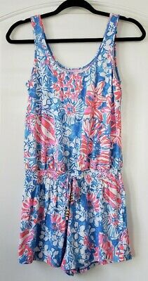 $29.99 • Buy Lilly Pulitzer Small Pop Pop Tala Romper Floral Pink Blue Tank Top Shorts #1086
