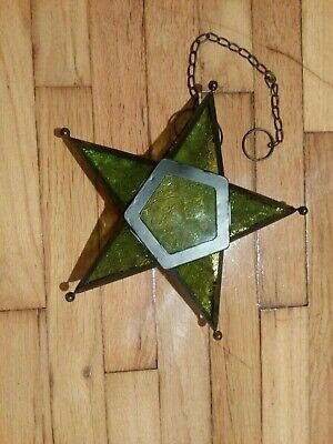 $12 • Buy Green Stained Glass 3D Star Hanging Tea Light Lantern 7 1/2 Inch