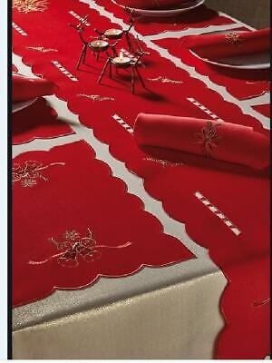 14 Piece Red & Gold Bells Christmas Linen Table Setting Tablecloth Napkins • 14.99£