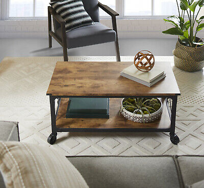 $114.10 • Buy Rustic Country Weathered Pine Finish Coffee Table Living Room Wooden Furniture