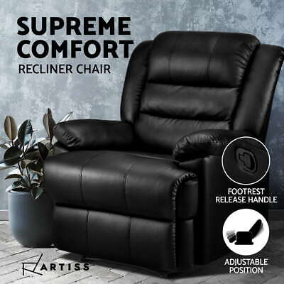 AU299.95 • Buy Artiss Recliner Chair Armchair Luxury Single Lounge Sofa Couch Leather Black