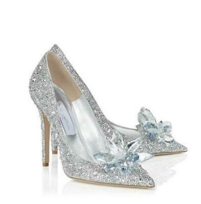 Women Silver Cinderella Wedding Party Diamond Pumps Crystal High Heel Shoes 2-7 • 23.99£