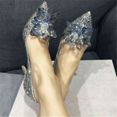 Silver Cinderella Wedding Party Diamond Pumps Crystal High Heels Shoes UK SALE • 19.89£