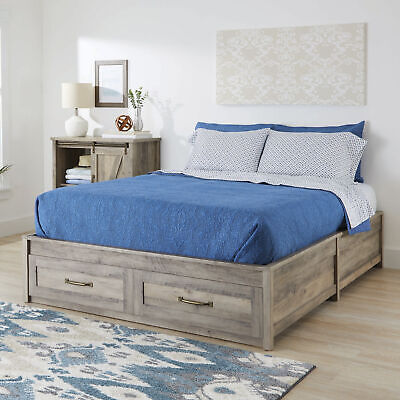 $474.36 • Buy Queen Platform Bed Frame Storage Drawers Modern Farmhouse Rustic Gray And White