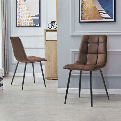 £80.99 • Buy 2 Pcs Faux Leather Dining Chairs Padded Seat Round High Back Home Office Chairs