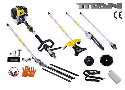 View Details 52cc 5 In 1 Hedge Trimmer Multi Tool Petrol Strimmer BrushCutter Garden Chainsaw • 144.99£